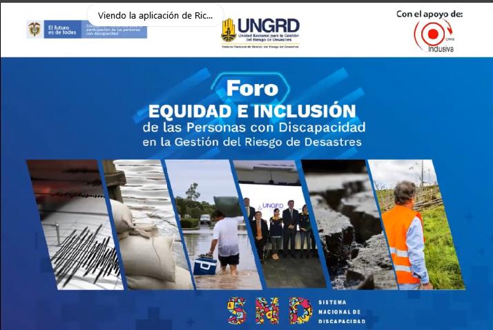 """Video Foro internacional: """"Equidad e inclusión de las Personas con Discapacidad en la Gestión del Riesgo de Desastres"""", Colombia"""